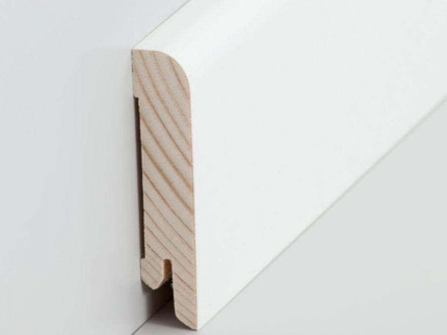 Holz Sockelleiste Rund 15 x 70 mm weiß lackiert
