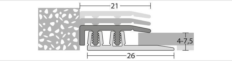 Abschlussprofil für Klick Vinyl und andere Bodenbeläge von 4 bis 7,5 mm Stärke
