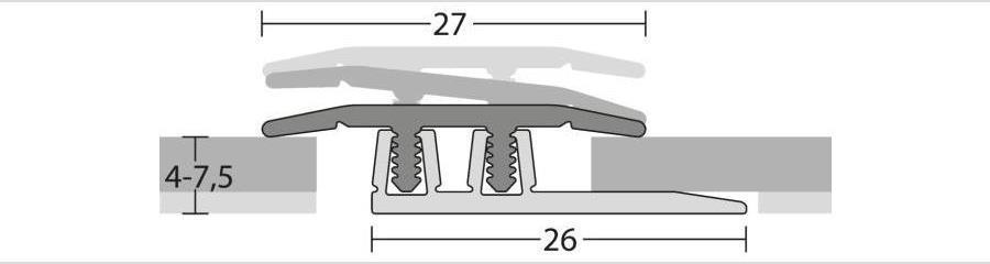 Übergangsprofil für Klick Vinyl und andere Bodenbeläge von 4 bis 7,5 mm Stärke