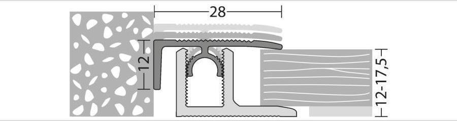 Abschlussprofil für Parkett und andere Bodenbeläge von 12 bis 17,5 mm Stärke