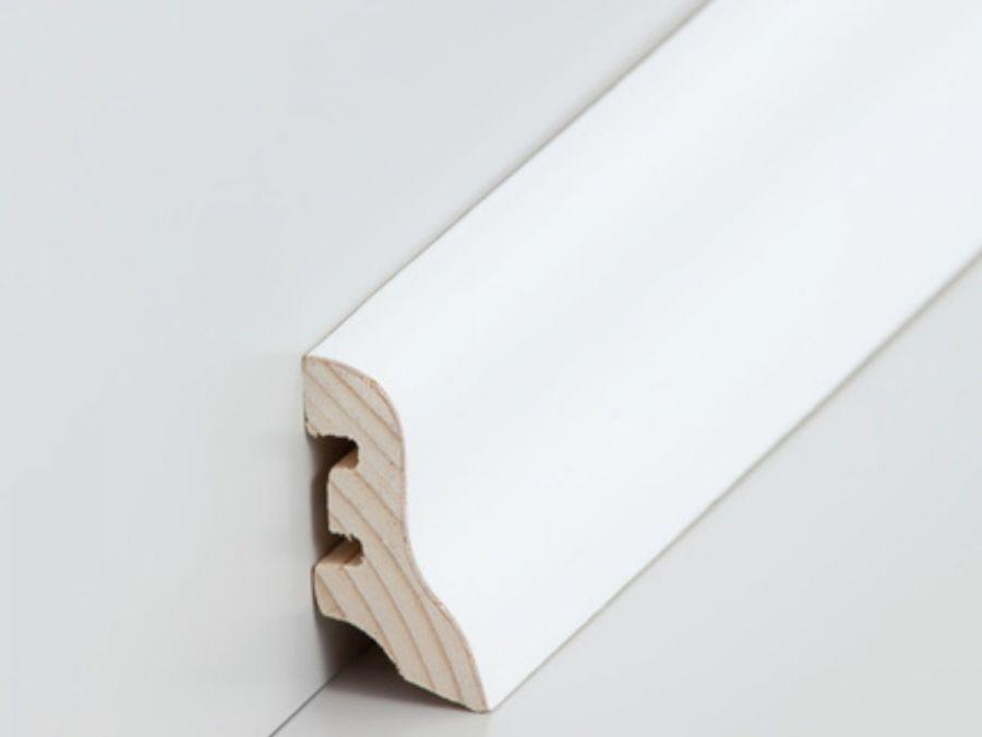 Holz Sockelleiste Klassisch 20 x 40 mm Esche weiß