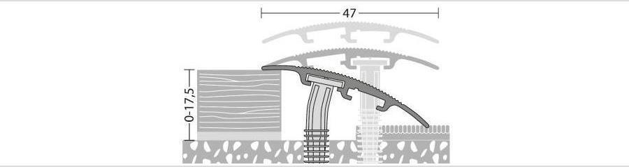 Universalprofil für Bodenbeläge bis 17,5 mm Stärke