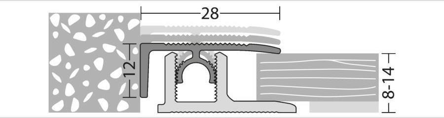 Abschlussprofil für Laminat, Parkett und andere Bodenbeläge von 8 bis 14 mm Stärke