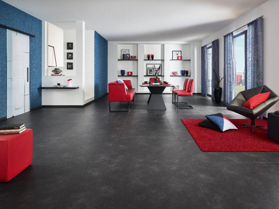 Vinylboden Design 555 Black Big Stone