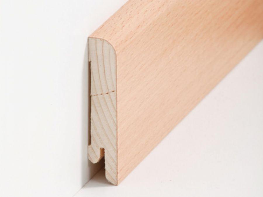 Holz Sockelleiste Rund Buche 15 x 70 mm