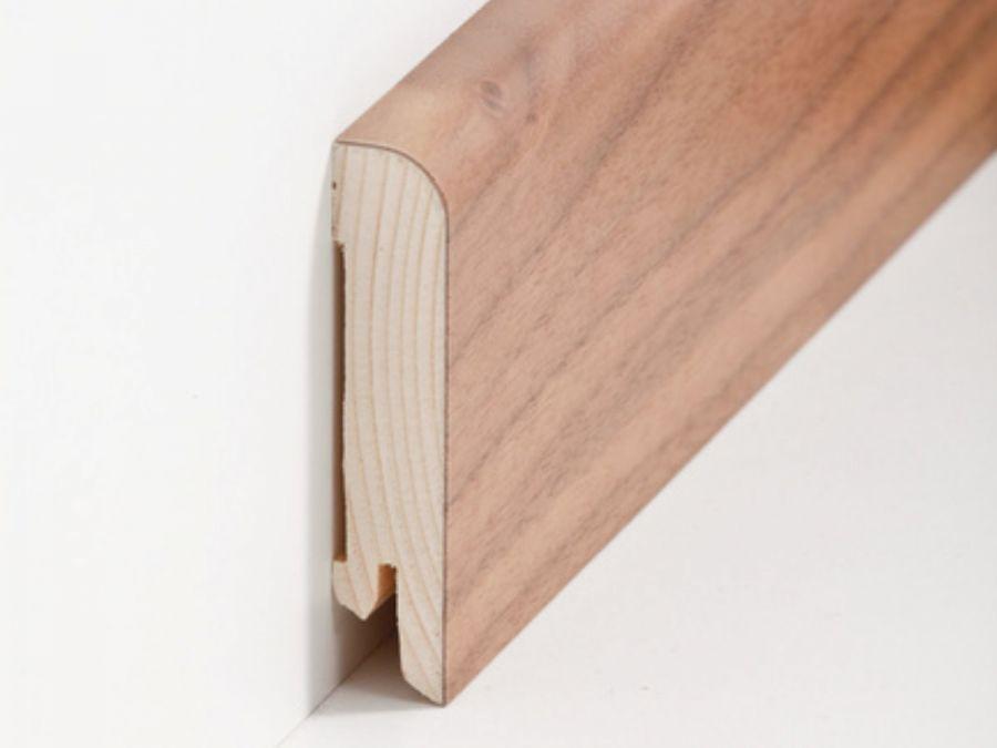 Holz Sockelleiste Rund Nussbaum 15 x 70 mm