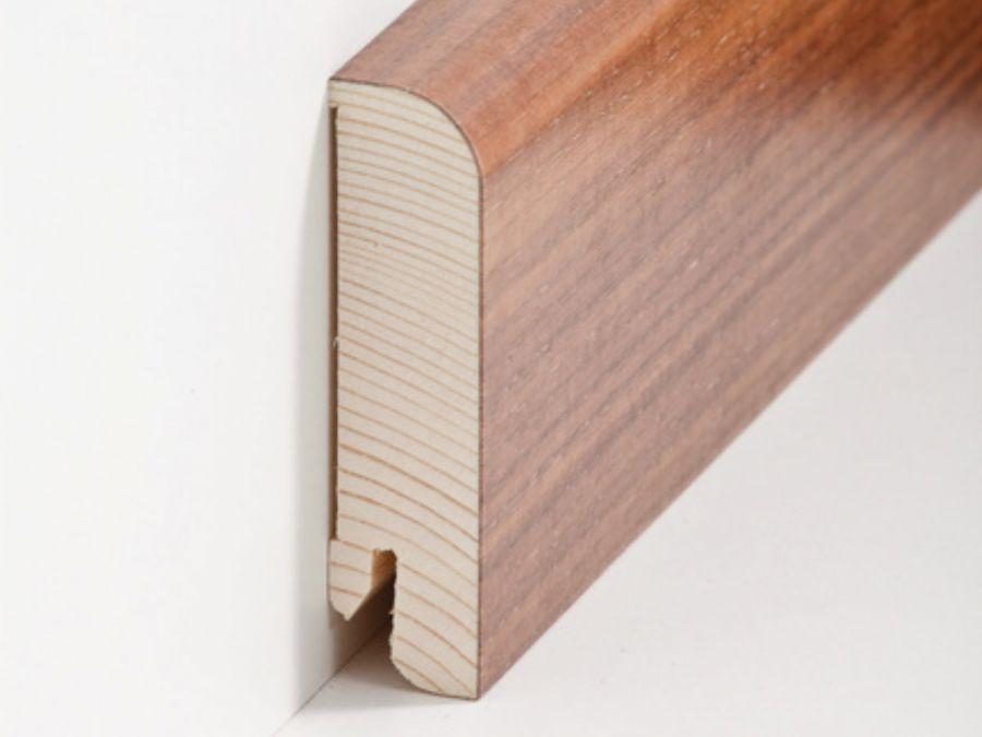 Holz Sockelleiste Rund Nussbaum 20 x 80 mm