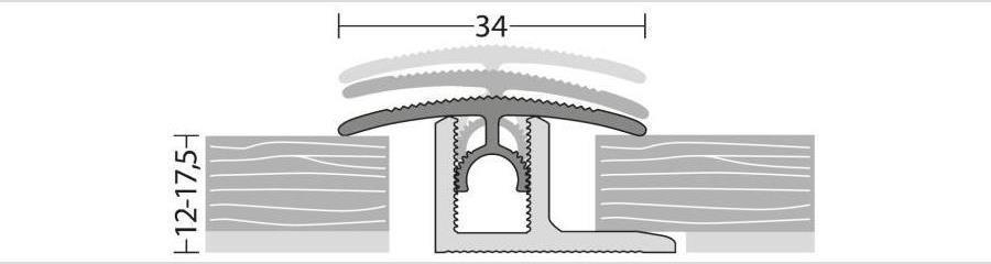 Übergangsprofil für Parkett und andere Bodenbeläge von 12 bis 17,5 mm Stärke