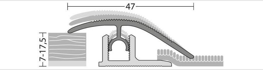 Anpassungsprofil für Laminat, Parkett und andere Bodenbeläge von 7 bis 17,5 mm Stärke
