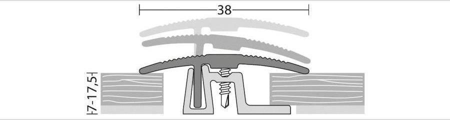 Übergangsprofil für Laminat, Parkett und andere Bodenbeläge von 7 bis 17,5 mm Stärke