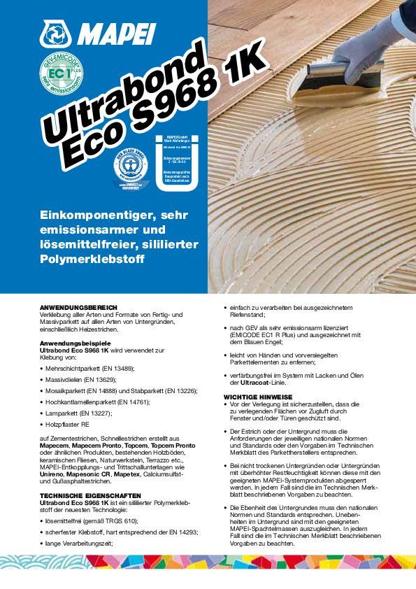Mapei Ultrabond Eco S 968 1K Datenblatt
