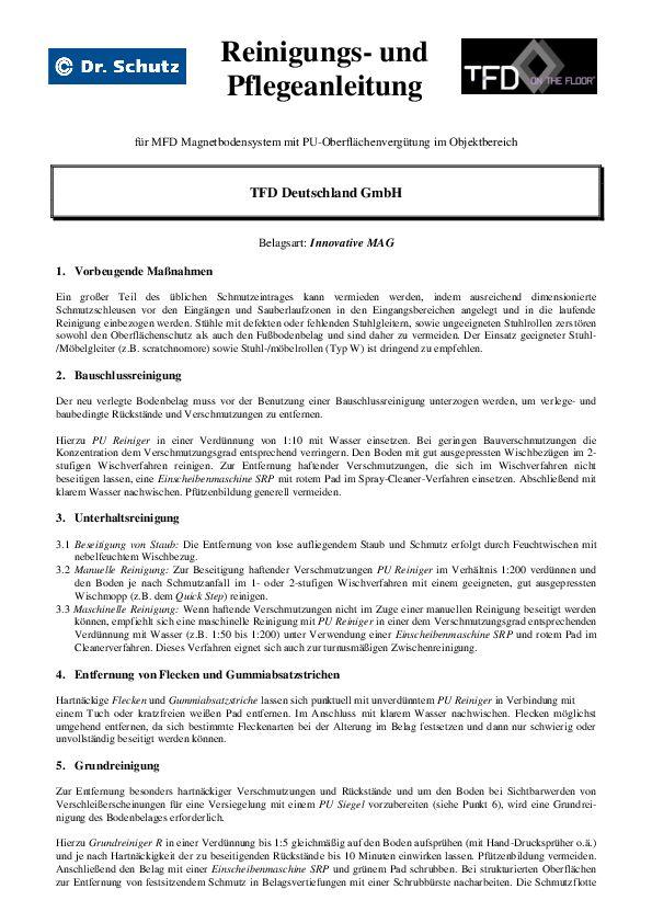 Reinigung und Pflege PDF 150 KB