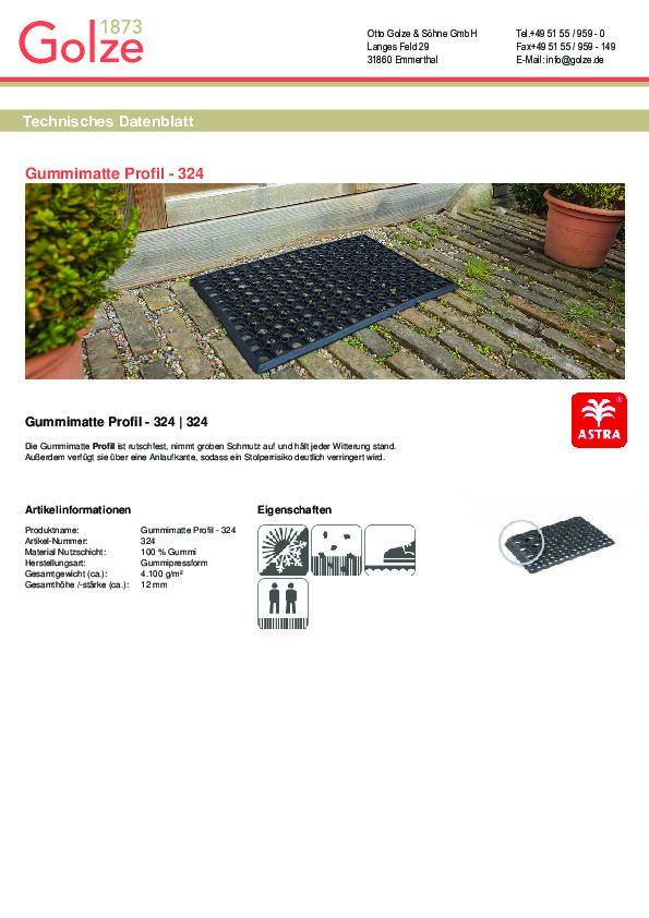 Technisches Datenblatt Gummimatte Profil