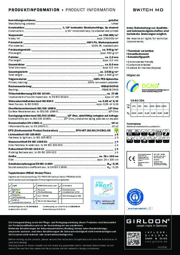 Technisches Datenblatt Teppichfliese SWITCH MO