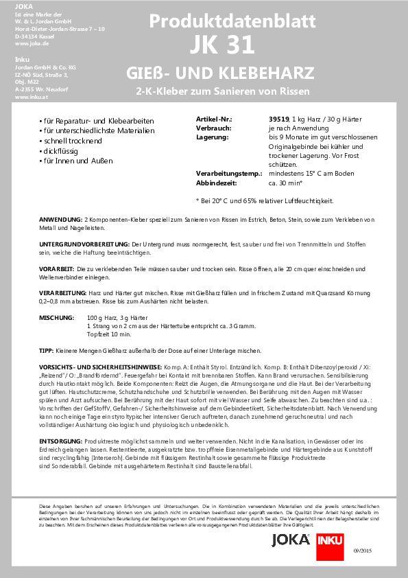 Produktdatenblatt JK 31 PDF 113 KB