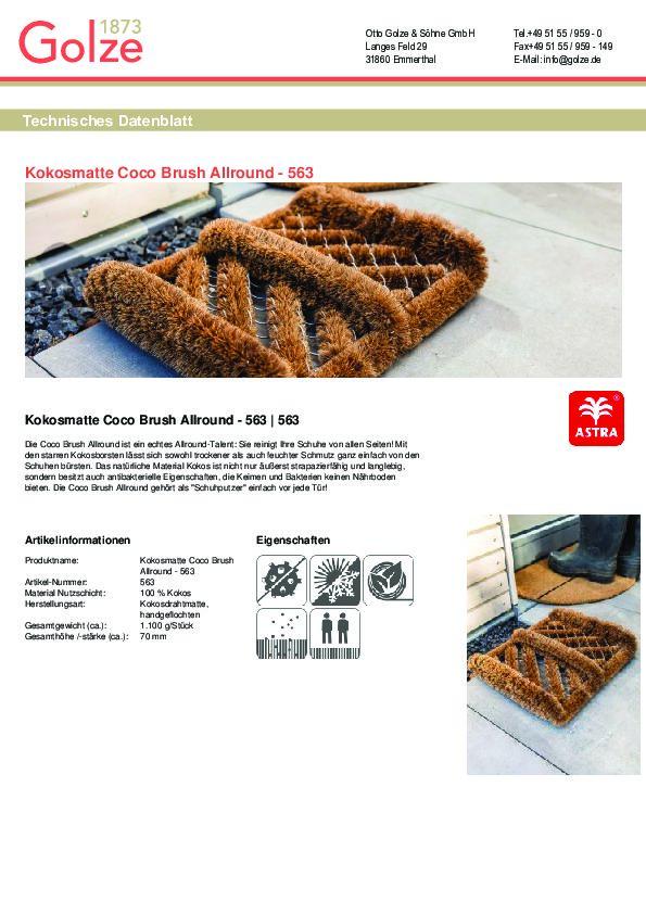 Technisches Datenblatt Kokosmatte Coco Brush Allround