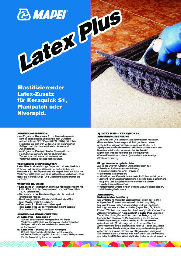 Mapei Latex Plus Datenblatt