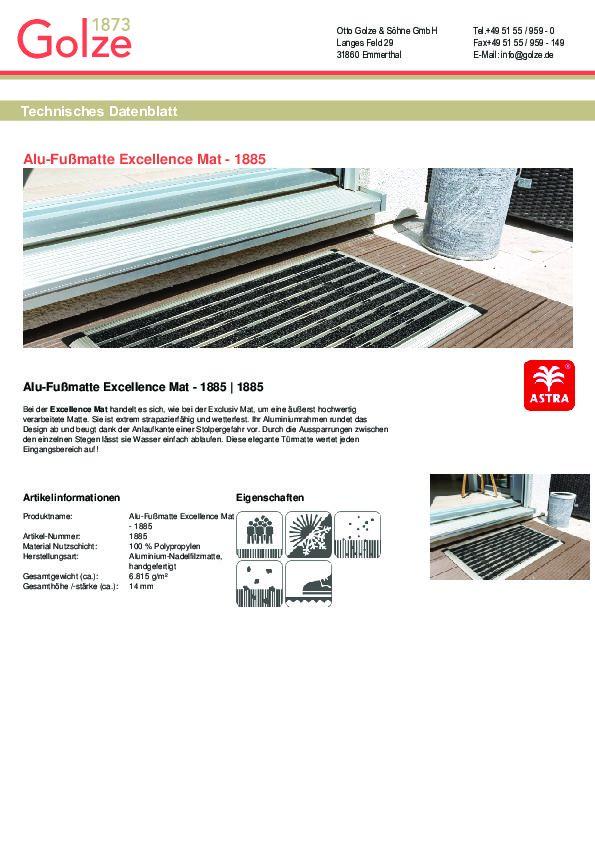Technisches Datenblatt Alu-Fussmatte Excellence Mat