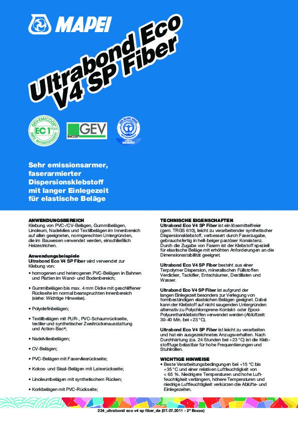 Mapei Ultrabond Eco V4 SP Fiber Datenblatt