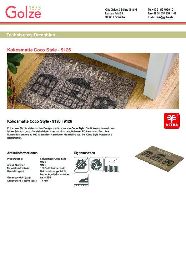 Technisches Datenblatt Kokosmatte Coco Style