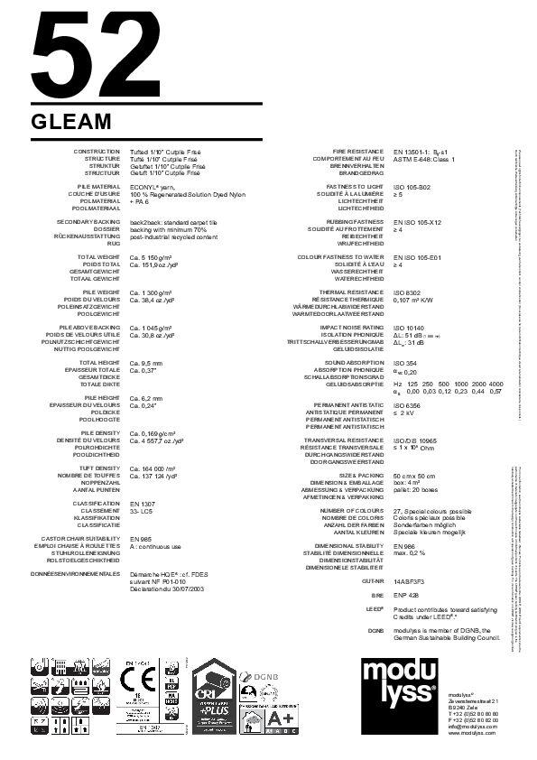 Technisches Datenblatt Teppichfliese Modulyss Gleam