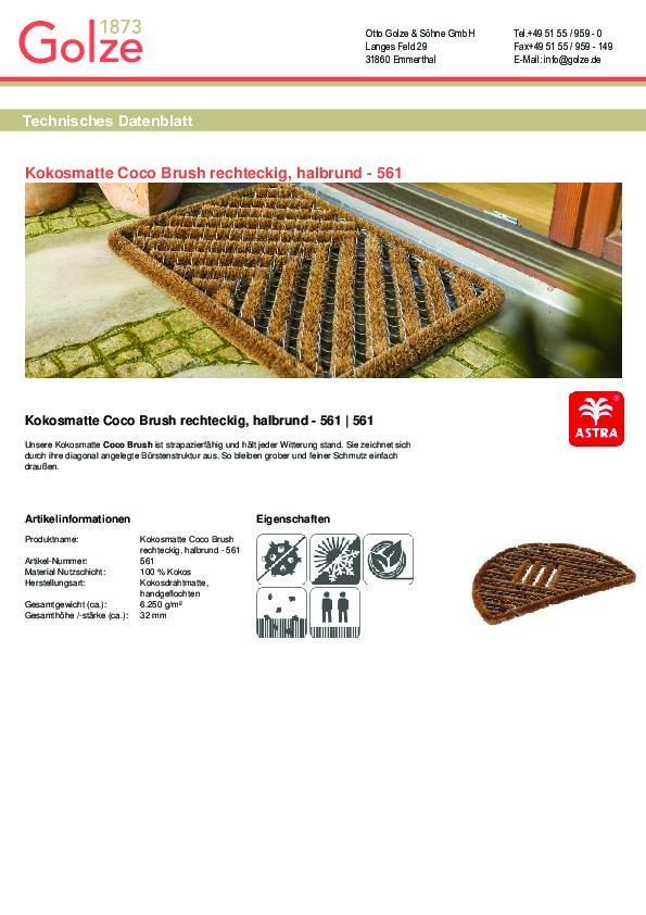 Technisches Datenblatt Kokosmatte Coco Brush Allround rechteckig/halbrund