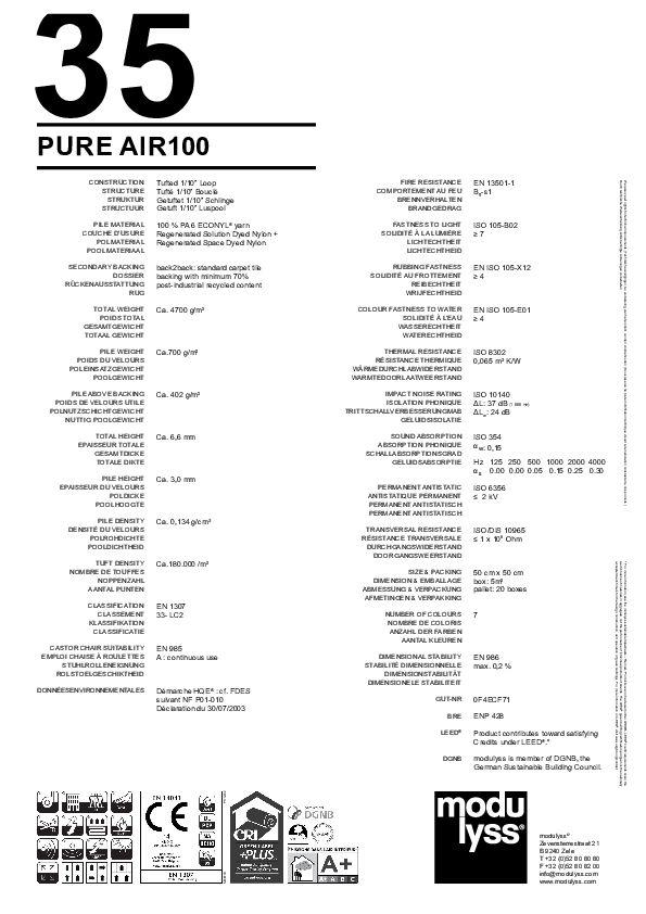 Technisches Datenblatt Teppichfliese Modulyss Pure Air100