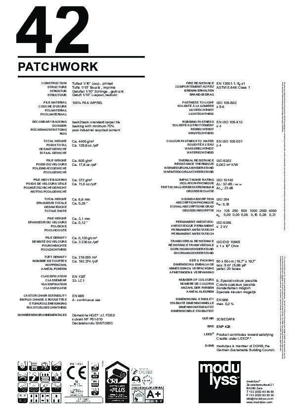Technisches Datenblatt Modulyss Teppichfliese Patchwork