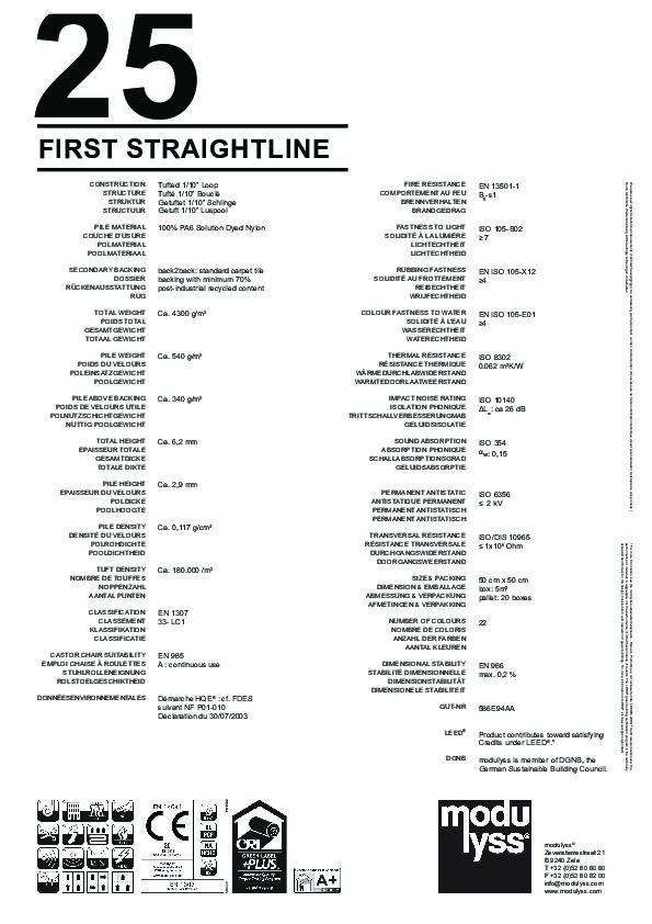 Technisches Datenblatt Modulyss Teppichfliese First Straightline