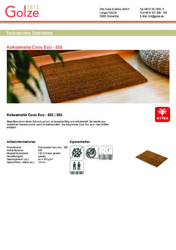 Technisches Datenblatt Kokosmatte Coco Eco