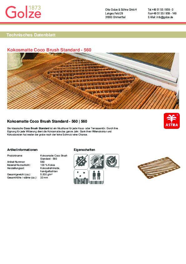 technisches Datenblatt Kokosmatte Coco Brush Standard