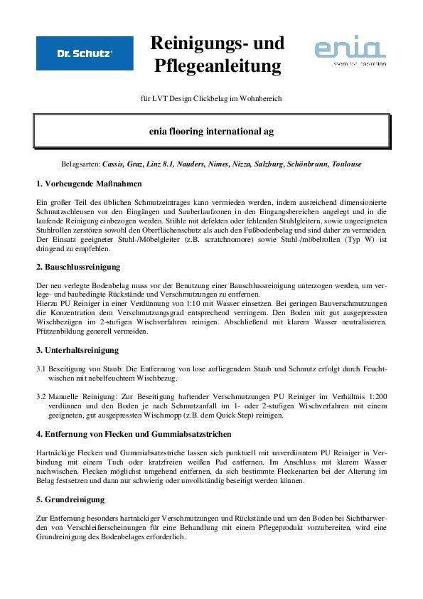 Pflegeanleitung Wohnbereich PDF