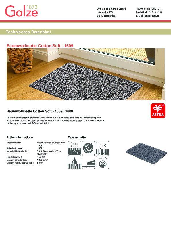 Technisches Datenblatt Baumwollmatte Cotton Soft