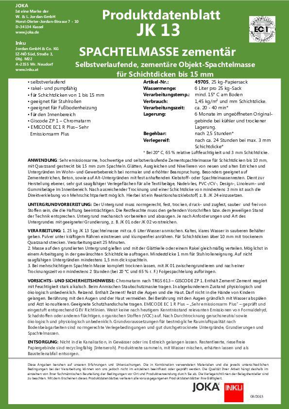 Produktdatenblatt JK 13 PDF 127 KB