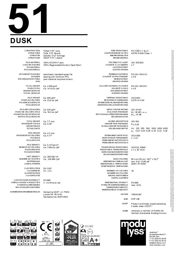 Technisches Datenblatt Modulyss Teppichfliese Dusk
