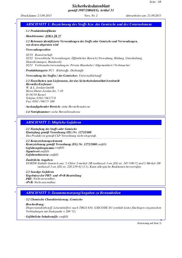 Sicherheitsdatenblatt JK 27 PDF 70,4 KB