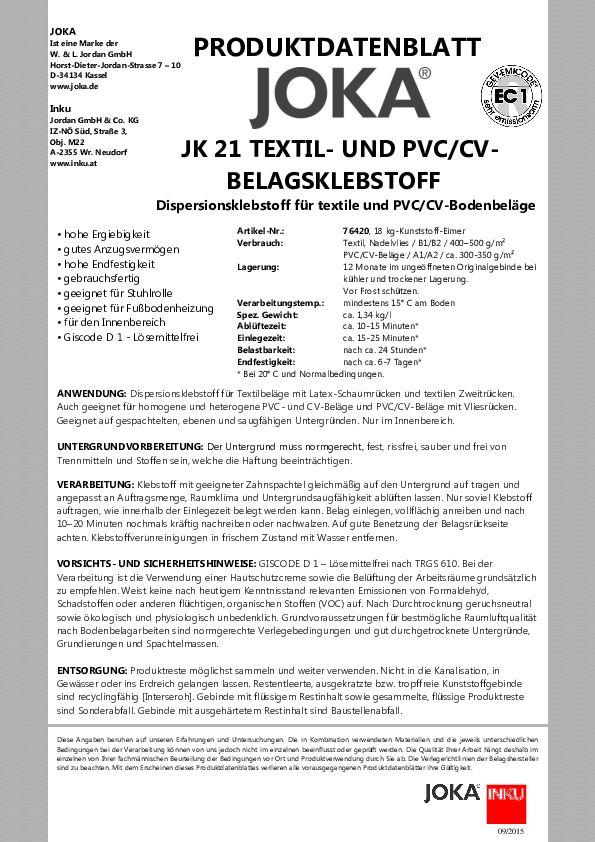 JOKA JK 21 Datenblatt