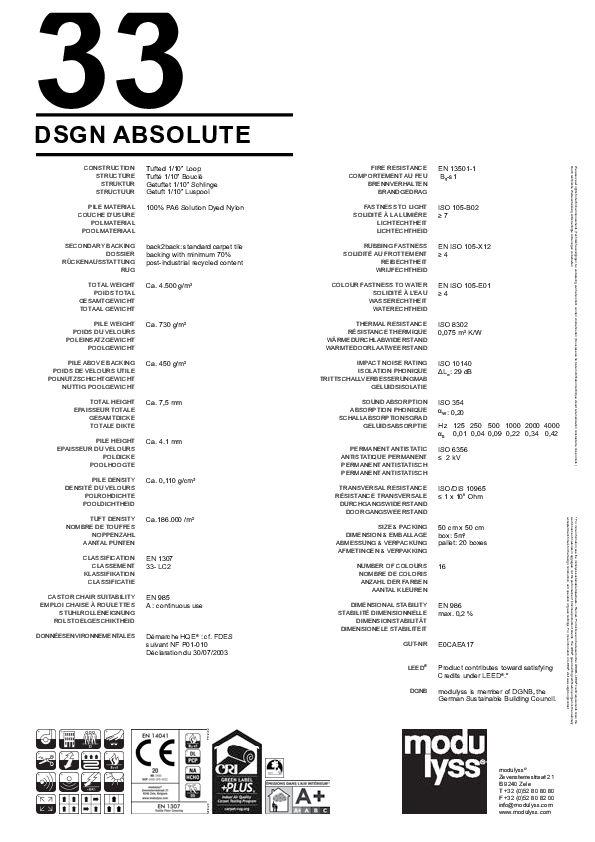Technisches Datenblatt Modulyss Teppichfliese DSGN Absolute