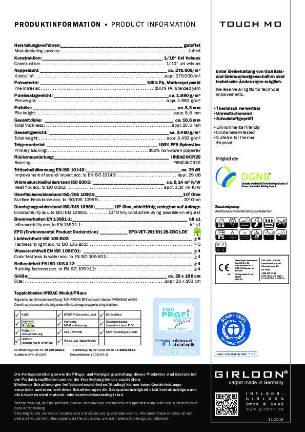 Technisches Datenblatt Teppichfliese TOUCH MO