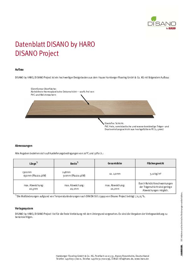 datenblatt disano project