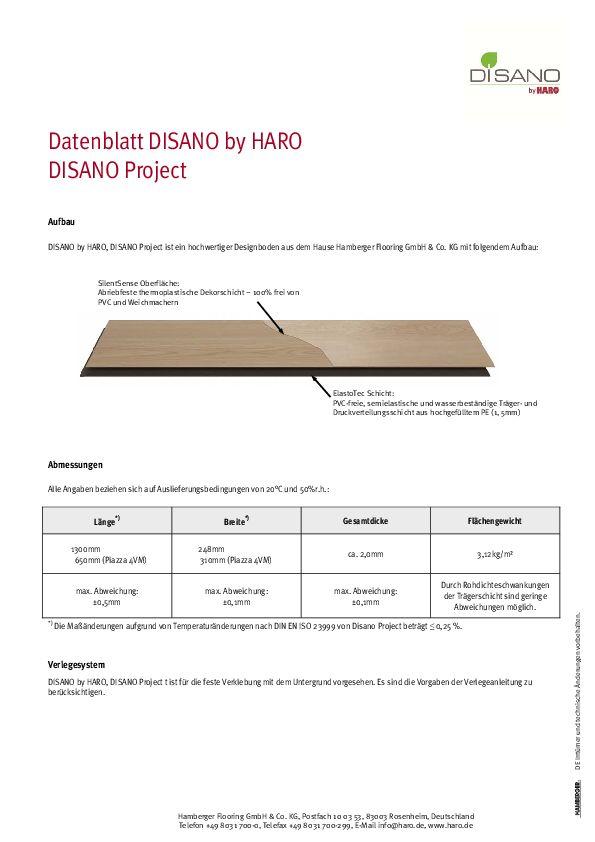 datenblatt disano project