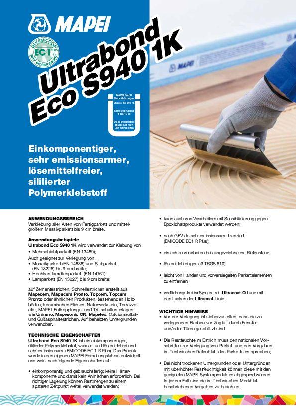 Mapei Ultrabond Eco S 940 1K Datenblatt