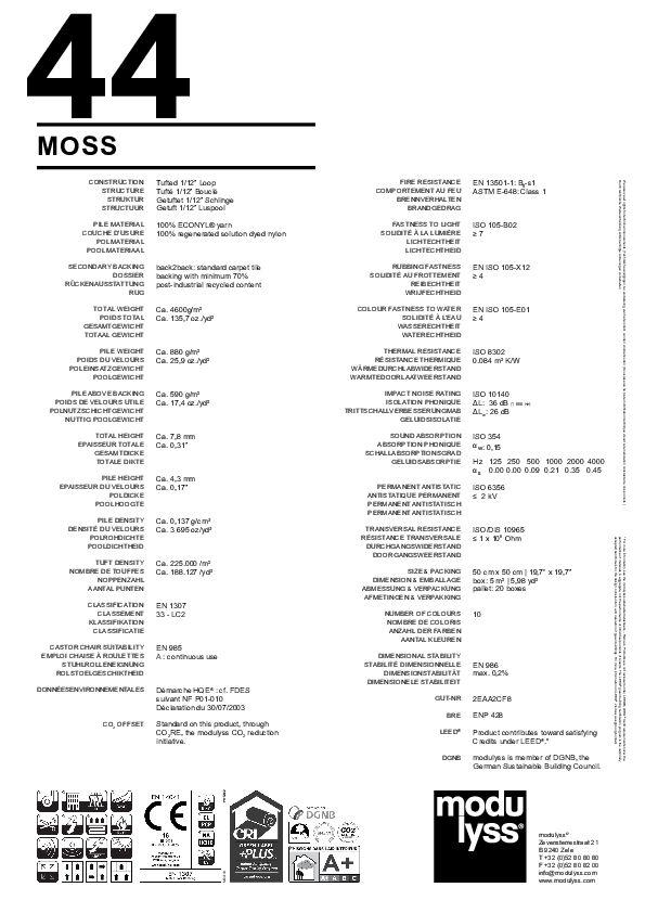 Technisches Datenblatt Teppichfliese Modulyss Moss