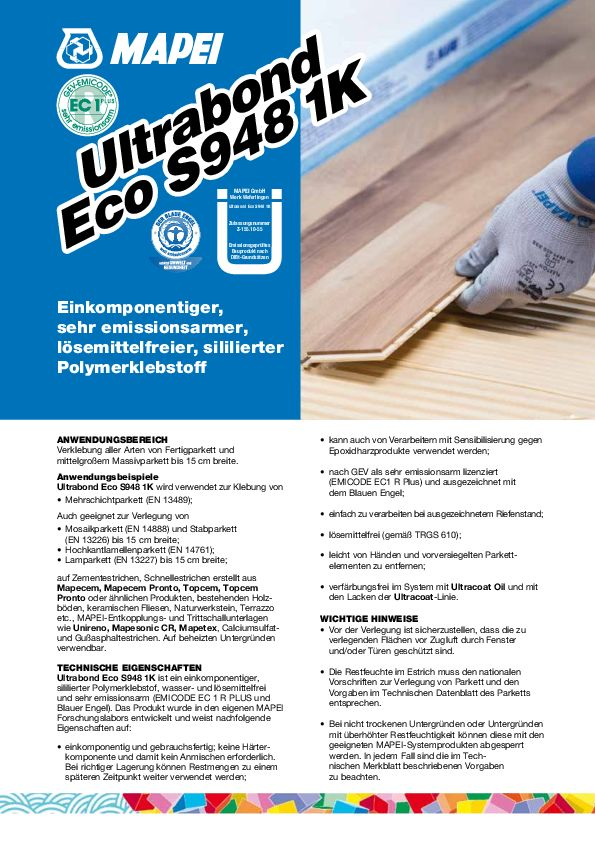Mapei Ultrabond Eco S 948 1K Datenblatt