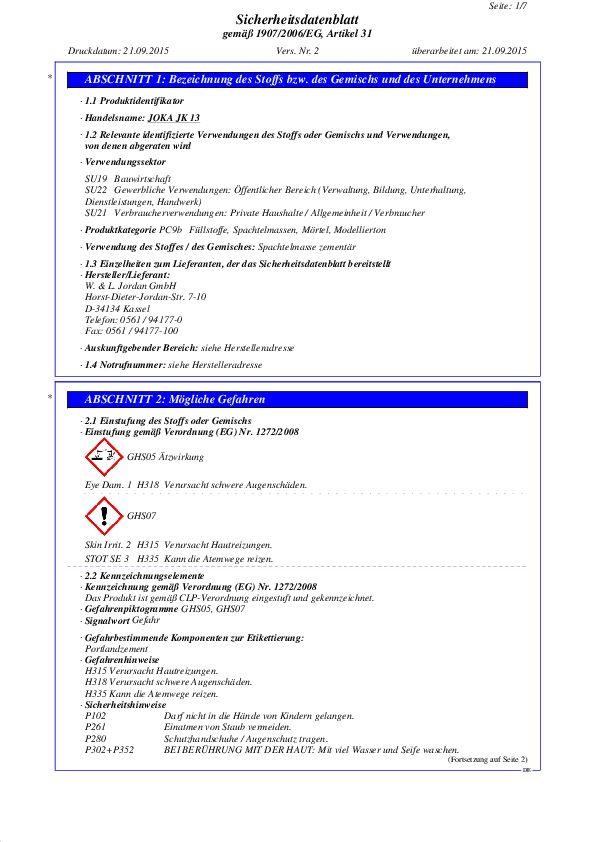Sicherheitsdatenblatt JK 13 PDF 85,2 KB