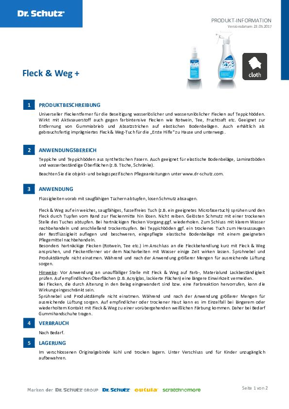 Dr. Schutz Fleck & Weg Datenblatt