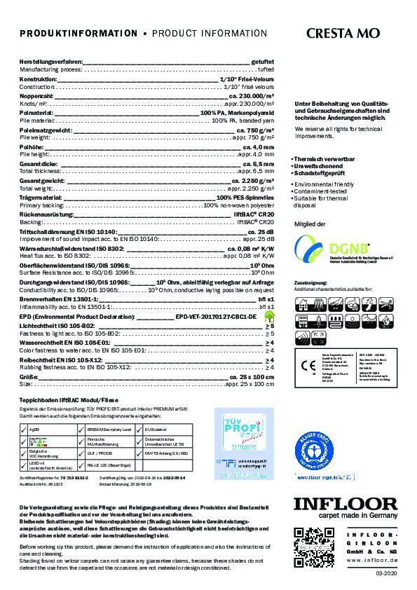 Technisches Datenblatt Teppichfliesen CRESTA MO