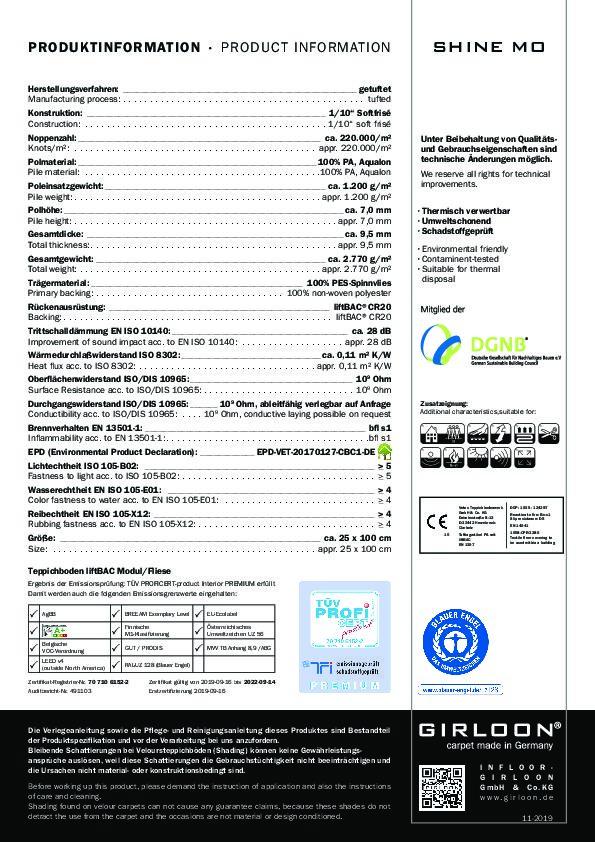 Technisches Datenblatt Teppichfliesen Girloon SHINE MO