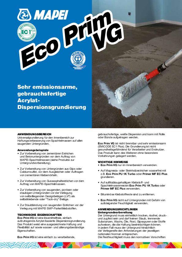 Mapei Eco Prim VG Datenblatt