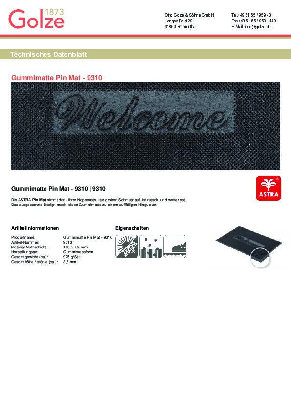 Technisches Datenblatt Pin Mat schwarz